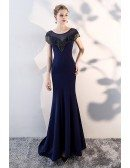 Navy Blue Slim Long Evening Prom Dress with Sheer Neck Tassel