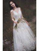 Beautiful Applique Lace Vneck Wedding Dress with V Shape Backless