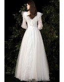 Fairytale Empire Wedding Dress Vneck with Ruffled Lace Long Sleeves