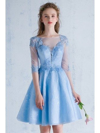 Blue Lace Short Homecoming Prom Dress with Sheer Half Sleeves