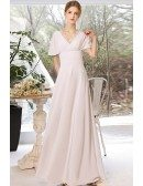 Modest Simple Long Chiffon Wedding Dress with Short Sleeves