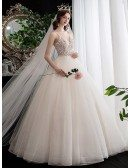 Gorgeous Vneck Lace Ballgown Cute Wedding Dress with Bling Spaghetti Straps
