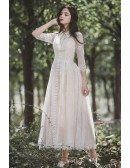 Retro Chic Lace Tea Length Casual Wedding Dress with 3/4 Sleeves
