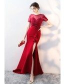 Burgundy Fitted Side Split Evening Dress with Illusion Short Sleeves