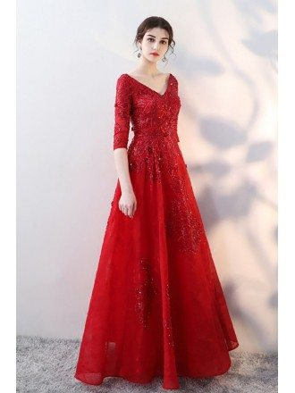 Red Sequined Lace Formal Long Dress Vneck with Half Sleeves