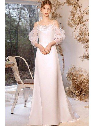 Simple Satin Elegant Wedding Dress with Cold Shoulder Sleeves