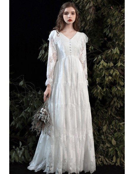 Romantic Boho Lace Empire Wedding Dress Vneck with Lace Long Sleeves