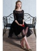 Black Tulle Knee Length Homecoming Party Dress with Half Lace Sleeves