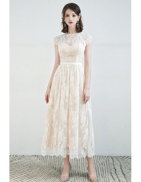 Modest Lace Cap Sleeved Tea Length Wedding Party Dress with Sash