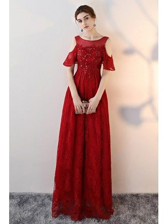Elegant Cold Shoulder Long Prom Dress with Beaded Lace
