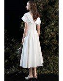 Retro Chic Vneck Tea Length Wedding Dress V Back with Dolman Sleeves