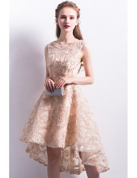 Champagne High Low Applique Lace Homecoming Party Dress Sleeveless