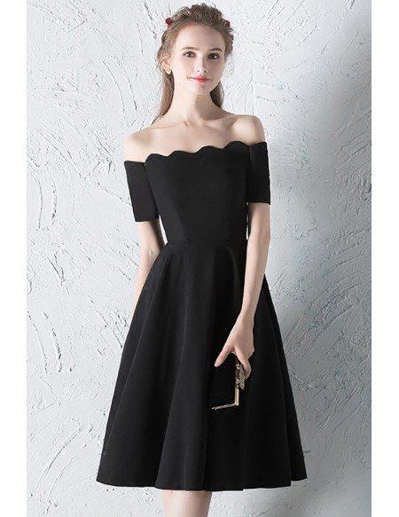 Simple Little Black Knee Length Semi Formal Dress with Off Shoulder