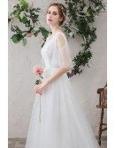 Beautiful Flowy Tulle Aline Wedding Dress with Appliques