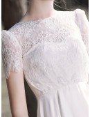 Casual Short Sleeved Lace Short Wedding Dress Wear with Sneaker