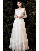 Romantic Lace Vneck Boho Wedding Dress with Sheer Long Sleeves