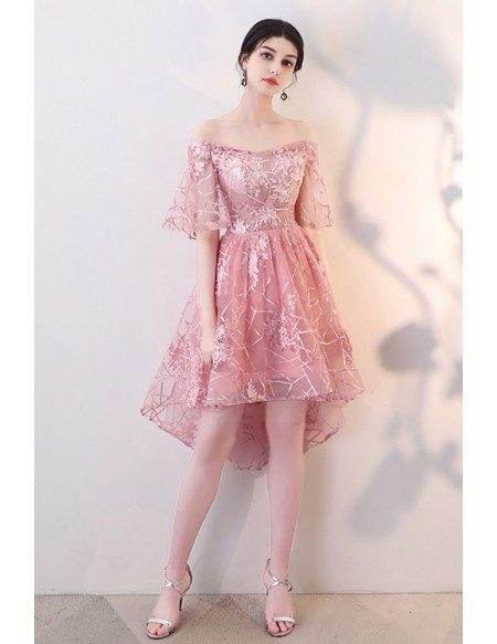 Gorgeous Pink Off Shoulder Hoco Dress High Low with Sleeves