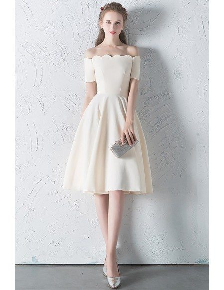 Simple Champagne Off Shouler Sleeved Homecoming Dress Knee Length