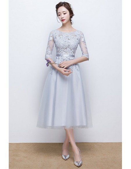 Grey Appliqes Lace Homecoming Dress Tea Length with Sheer Sleeves