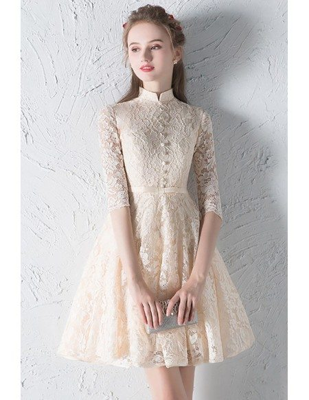 Modest Champagne Lace Short Homecoming Dress Half Sleeved with Collar
