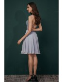 Open Back Short Chiffon Simple Party Dress with Beading Top