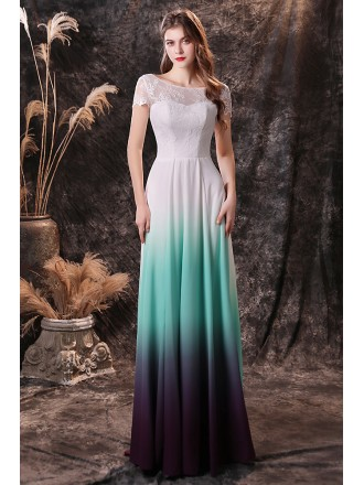Ombre Green Blue Chiffon Long Formal Prom Dress with Short Lace Sleeves
