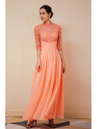 Modest Orange Chiffon Long Formal Dress For Woman with Lace Beading Sleeves