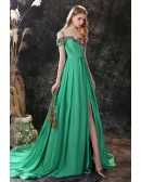 Green Long Slit Chiffon Prom Dress Trained with Colorful Flowers Neck