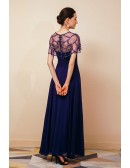 Long Purple Pleated Chiffon Specail Party Dres with Beading Cape Sleeves
