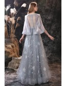 Special Dandelion Flower Grey Long Prom Dress with Cape Sleeves