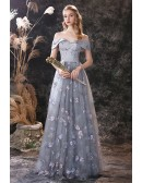 Dragonfly Embroidery Tulle Grey Prom Dress In Off Shoulder Floor Length