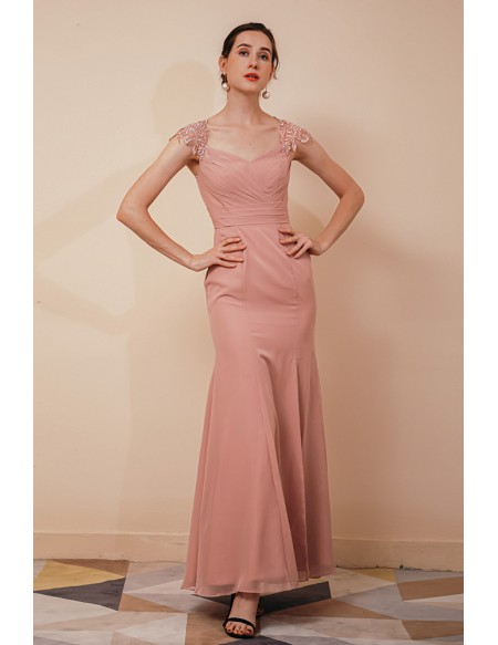 Fitted Long Mermaid Pleated Special Occasion Dress with Cap Lace Sleeves