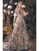 Unique Romantic Floral Embroidery Lace Formal Prom Dress with Sleeves And Train