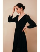 Hi Lo Black V Neck Chiffon Special Occasion Dress with Long Lantern Sleeves