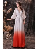 Ombre White Orange V Neck Evening Formal Dress with Lantern Lace Sleeves