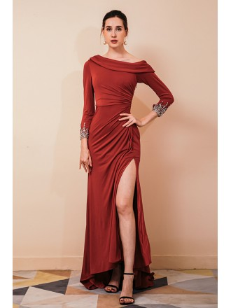 Long Fitted Burgundy Slit Specail Occasion Dress with Sleeves