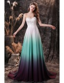 Strapless Sweetheart Lace Chiffon Long Prom Dress Ombre White Green Blue