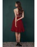 Strapless Beading Burgundy Short Chiffon Bridesmaid Party Dress