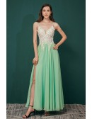 A Line Straps Green Long Slit Chiffon Prom Dress with Lace Bading Top