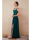 Sleeveless Lace Chiffon Long Formal Party Dress with Slit Front