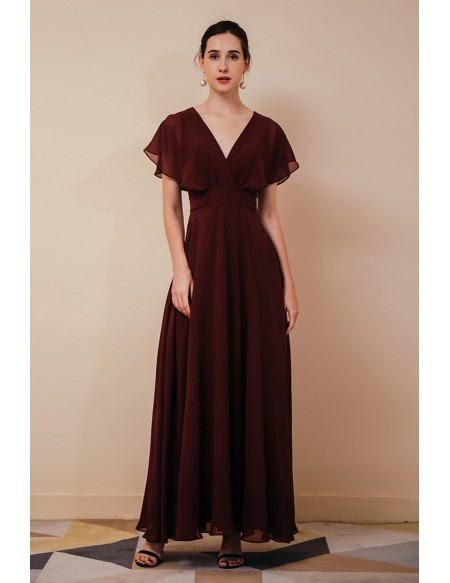 Simple V Neck Rust Red Long Chiffon Mother Of The Bride Dress with Dolman Sleeves