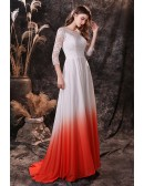Modest Ombre White And Orange Long Formal Dress with Fitted Lace Sleeves