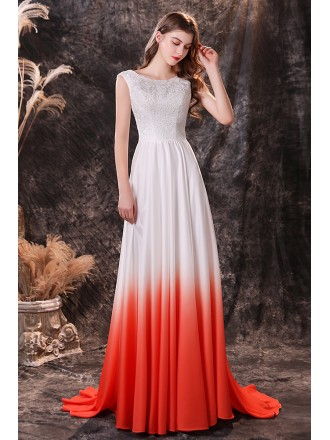 Ombre White And Orange Long Train Formal Evening Dress with Lace Top