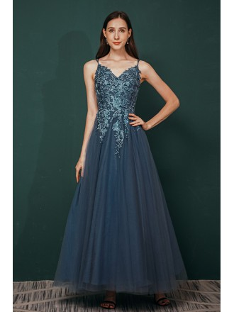 Dusty Blue Long Tulle V Neck Prom Dress with Lace Spaghetti Straps