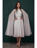 Tea Length Chiffon Beading Mature Wedding Dress with Cape Sleeves