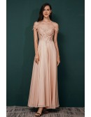 See Through Long Pink Chiffon Prom Dress with Lace Off Shoulder Straps