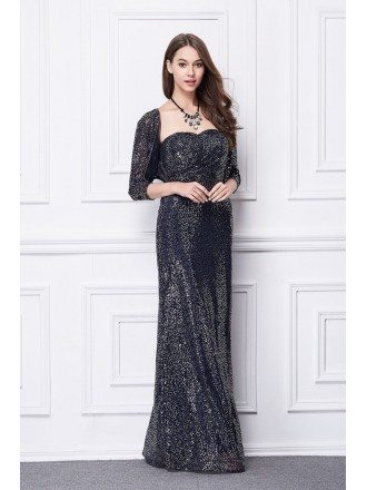 Sparkling Sheath Sweetheart Sequined Long Evening Dress With Jacket