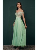 Off Shoulder Long Chiffon Green Prom Dress with Lace Top