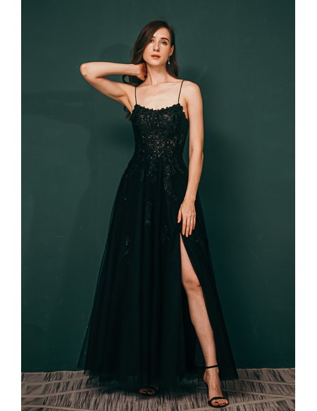 Sexy Open Back Tulle Lace Black Prom Dress with Slit Front