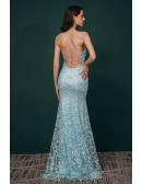 All Lace Sexy Open Back Mermaid Prom Dress Sky Blue